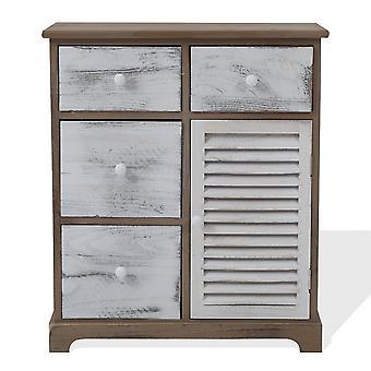Rebecca Furniture Mobile Cabinet White Grey 4 Drawers 1 Anta Wood 70x60x30
