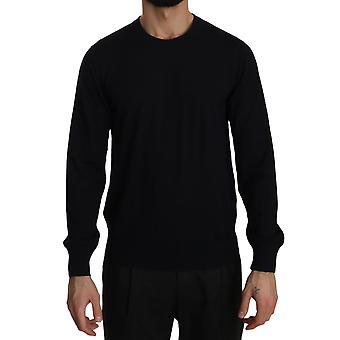 Dolce & Gabbana Black Cashmere Crewneck Pullover Sweater