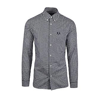 Fred Perry Gingham Button Down Skjorta Carbon Blå