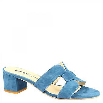 Leonardo Shoes Women's handgemaakte slide mid heels sandalen in oceaanblauw suède leer
