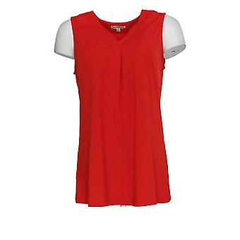 NorthStyle Women's Top V-hals Sleeveless Crimson Red