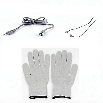 EMS Magic Glove with Button Cable Electricity Conductive Face Body Massage Skin Lifting Tightening Tool