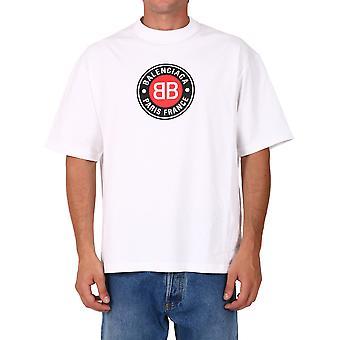 Balenciaga 612966tjvd69000 Men'camiseta de algodão branco