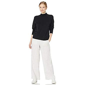 Brand - Daily Ritual Women's Fine Gauge Stretch Mockneck Pullover Sweater, Black, Medium