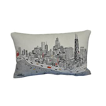 Spura Home Chicago Printed Skyline Embroidered Wool Cushion Day/Night Setting