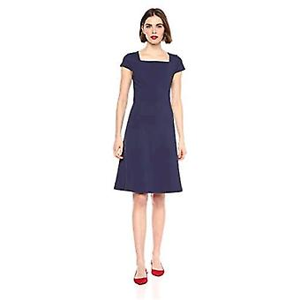 Lark & Ro Women's Cap Sleeve Square Neck Seamed Fit and Flare Dress, Midnight Blue 10