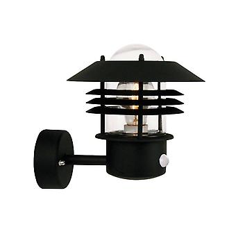 1 Light Outdoor Wall Light Black with Sensor IP54, E27
