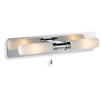 Firstlight Spa - 2 Light Switched Bathroom Over Mirror Wall Light Chrome, Opal Glass IP44, G9