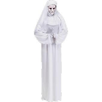 Adults Scary White Nun With Mask Halloween Fancy Dress Costume