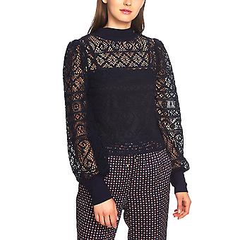 1.State | Plush Luxe Mock Neck Cropped Lace Top