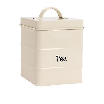 Industrial Tea Canister - Vintage Style Steel Kitchen Storage Caddy with Lid - Cream