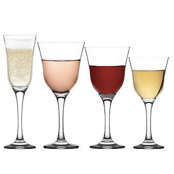 LAV Vals Copas de Vino con Flautas de Champagne - Blanco, Rosa, Rojo - Vintage Glassware - Set de 24