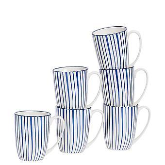 Nicola Spring 6-osainen raitakuvioinen tee- ja kahvimukisetti - Suuret posliinilattemukit - Tummansininen - 360ml