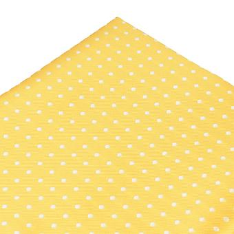 Ties Planet Yellow & White Polka Dot Pocket Square Handkerchief