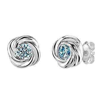 Dew Sterling Silver Silver Swirl Blue Topaz Stud Earrings 3312BT