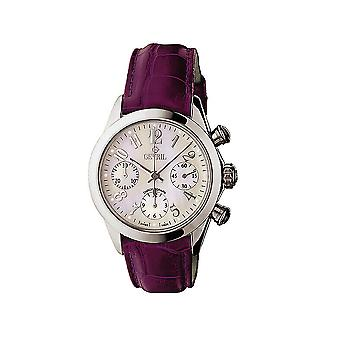 Gevril Kvinnor's 2904 Lafayette Automatisk Kronograf Datum Diamond Läder Klocka