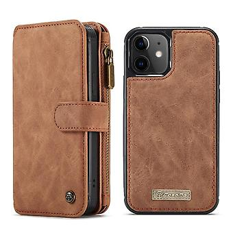 CASEME iPhone 12 Mini Retro nahka lompakko Kotelo - Ruskea