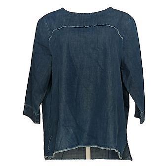Martha Stewart Women's Denim 3/4 Sleeve Blouse c/Frayed Detail Blue A351799
