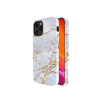 iPhone 12 and iPhone 12 Pro Case White with Gold - Marble