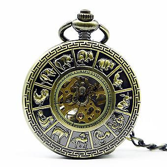 DEFFRUN Fashion Zodiac romertal Machanical Pocket Watch Creative Vedhæng