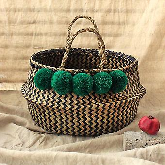 Extra Wide Zig-zag Belly Basket - With Emerald Pom-poms