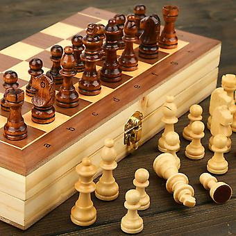 Magnetic Wooden Folding Chess Set With Felted Game Board, Interior For Storage