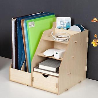 Wooden Color Office Desk Organizer, Desk Accessories Storage Magazine Book Desk