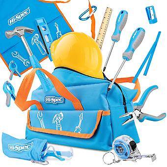 Hi-spec 15 piece children's tool kit with real small-sized hand tools, safety goggles and play-work