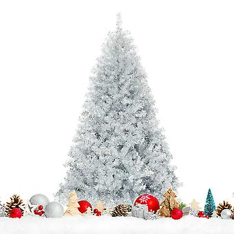 6FT Artificial Silver Christmas Tree Hinged Full Tree Electroplated Technology
