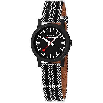 Mondaine Essence Quartz Black Dial Tartan Synthetic Strap Watch MS1.32120.LB