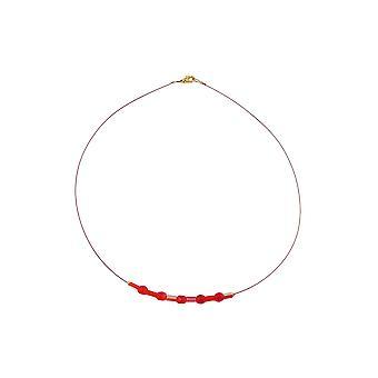Contas de vidro colar vermelho