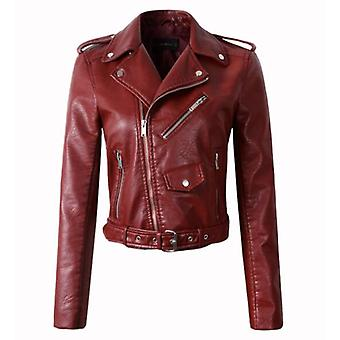 Winter/autumn Leather Jackets, Women Leather Slim Pu Jacket
