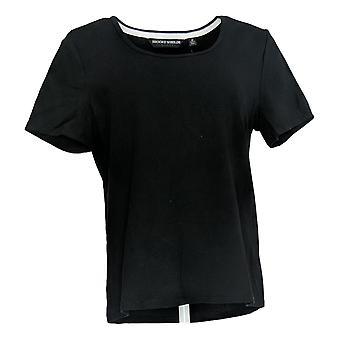 BROOKE SHIELDS Timeless Women's Top Scoop-Neck Knit T-Shirt Black A307098