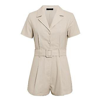 Primavera-estate Elegante Cintura Fascia Fascia Donna Playsuits Short Sleeve Buttons Tuta