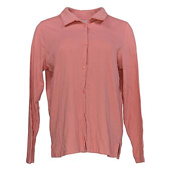 Anyone Women's Top Cozy Knit Collared Rib Button Front Pink A367698