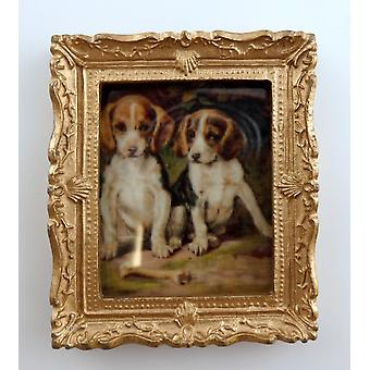 Dolls House Miniature Beagle Puppies Picture Painting Gold Frame