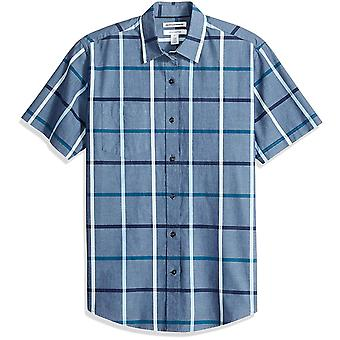 Essentials Men & apos, s regular-fit kortärmad pläd Casual Poplin shirt, D...