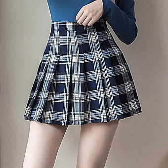 Short Korean Women Zipper High Waist School Pleated Plaid Sexy Mini Skirt