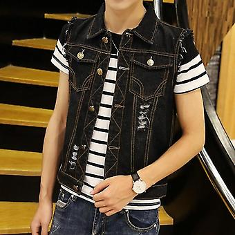 Revitty farkkutakki, Men's Denim Vest, Hip Hop Takit, Liivit Cowboy