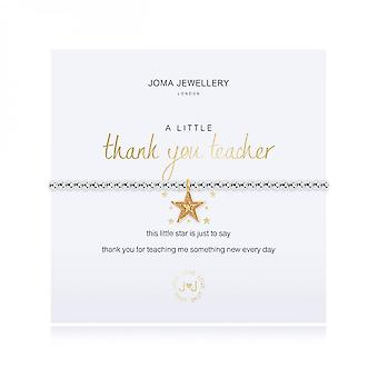 Joma Sieraden Een beetje bedankt leraar Zilver 17,5 cm stretch armband 3481