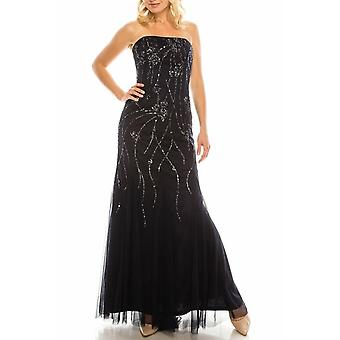 Sequined Strapless Evening Gown