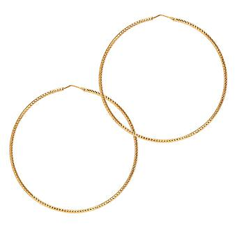 The Hoop Station Roma Diamond-Cut Gold Plated 75 Mm Hoop Earrings H93Y