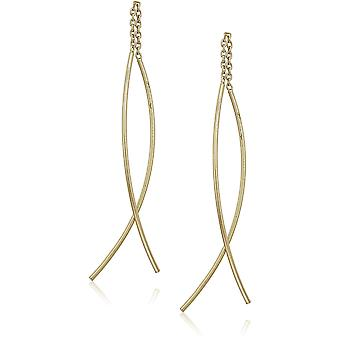 Gold Over Sterling Silver Double Curved Threader Drop, Gold, Size No Size
