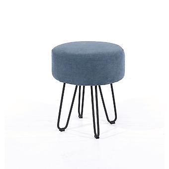 Furry Blue Fabric Round Stool Black Metal Legs
