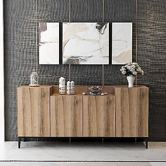 Muebles Polivalente Ellaria Color Nogal en MDF, Metal, L160xP42xA75 cm, Patas 15 cm