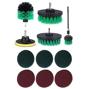 Accesorio de cepillo de perforación de 12pcs para cocina / coche / piso verde