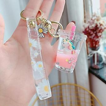 Glitter Quicksand Key Chain Liquid Floating Unicorn Keyring Keychain