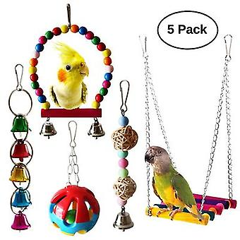 5 Piece Set Of Explosive Parrot Set Bite Toy Swing Bell String Sepak Takraw Bite String
