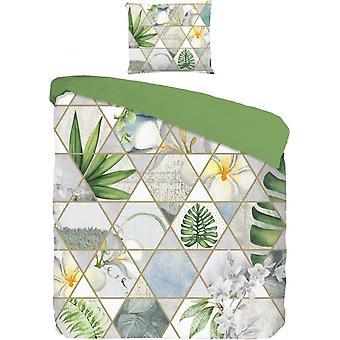sängkläder Lissy140 x 220 cm grå/grön