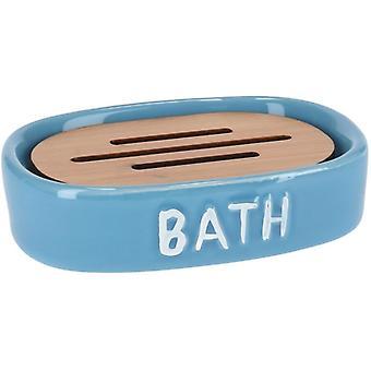 soap holder 12.5 x 9.5 cm ceramic blue